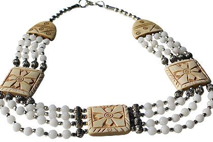 Design 16037: brown,white snow quartz ethnic necklaces
