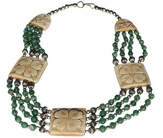 Design 16039: brown,green bone ethnic necklaces