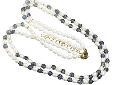 Design 16140: blue,white pearl classic necklaces