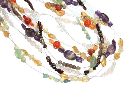 Design 16180: multi-color bulk lots necklaces