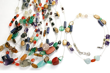Design 16186: multi-color bulk lots necklaces