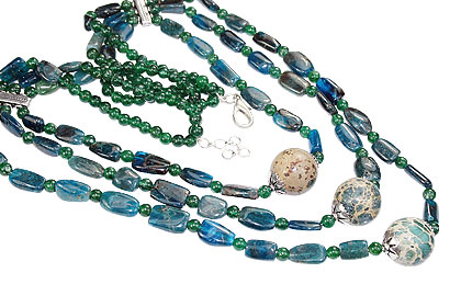 Design 16199: blue,green,yellow apatite multistrand necklaces