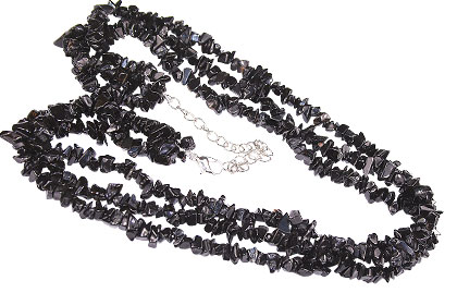Design 16353: black black spinel chipped necklaces