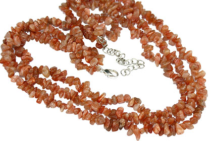 Design 16354: orange sunstone multistrand necklaces