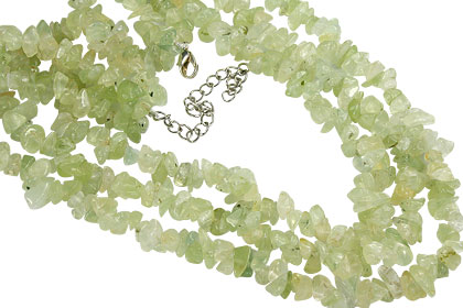 Design 16356: green prehnite chipped necklaces