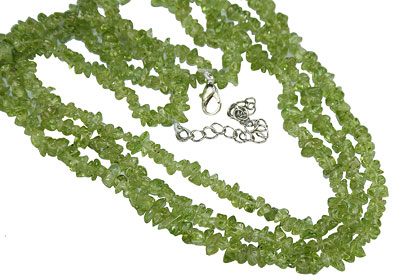Design 16358: green peridot multistrand necklaces