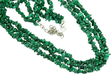 Design 16361: green malachite chipped necklaces