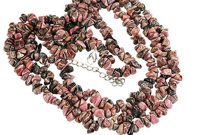 Design 16363: pink rhodolite chipped necklaces