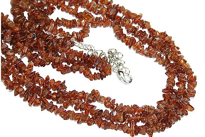 Design 16366: brown,orange hessonite chipped necklaces