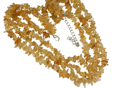 Design 16369: yellow citrine chipped necklaces