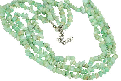 Design 16370: green chrysoprase chipped necklaces