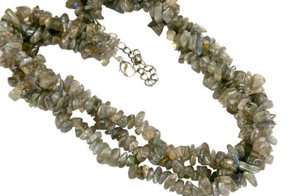 Design 16374: green,gray labradorite chipped necklaces