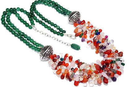 Design 16385: green,multi-color multi-stone drop necklaces
