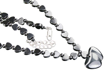 Design 16397: black hematite heart necklaces