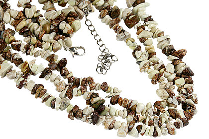 Design 16402: brown,white jasper multistrand necklaces