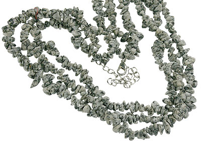 Design 16405: black,white aventurine chipped necklaces
