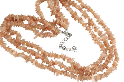 Design 16408: orange,white moonstone chipped necklaces