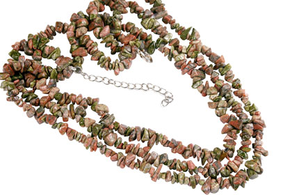 Design 16409: green,orange unakite multistrand necklaces