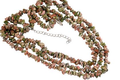 Design 16409: green,orange unakite multistrand necklaces