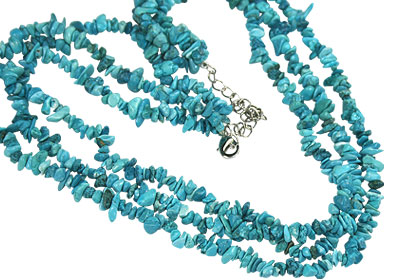 Design 16410: blue,multi-color turquoise chipped necklaces