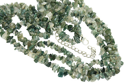 Design 16416: black,green,white moss agate multistrand necklaces