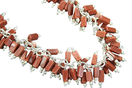 Design 16451: brown sunstone clustered necklaces