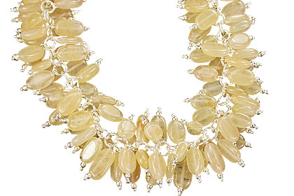 Design 16454: yellow aquamarine clustered necklaces