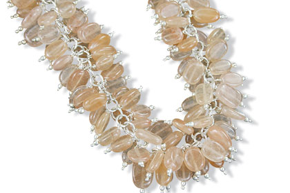 Design 16455: yellow aquamarine clustered necklaces