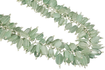 Design 16458: green aquamarine clustered necklaces