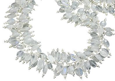 Design 16460: white,multi-color aquamarine clustered necklaces
