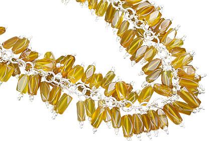 Design 16461: yellow aquamarine clustered necklaces