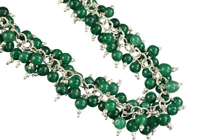 Design 16465: green aquamarine clustered necklaces