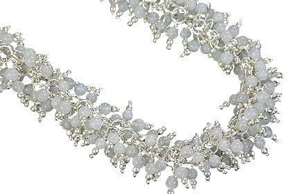 Design 16467: white aquamarine clustered necklaces