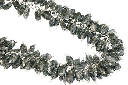 Design 16471: black,white aquamarine clustered necklaces