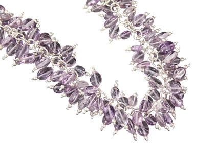 Design 16472: purple amethyst clustered necklaces