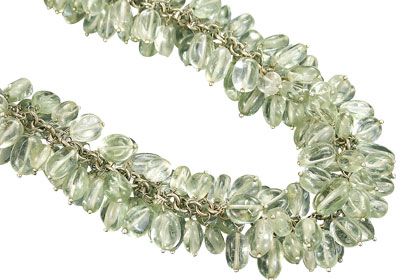 Design 16473: green aquamarine clustered necklaces
