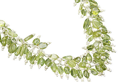 Design 16474: green aquamarine clustered necklaces