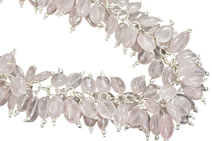 Design 16475: pink aquamarine clustered necklaces