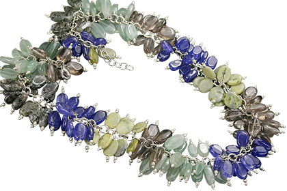 Design 16687: blue,green,gray multi-stone necklaces