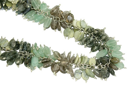 Design 16712: brown,green,gray multi-stone necklaces