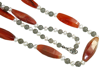Design 16714: gray,orange,white carnelian necklaces