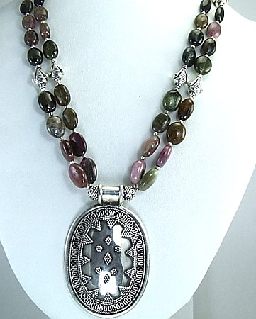 Design 1696: multi-color tourmaline medallion, multistrand necklaces