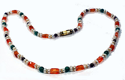 Design 16973: orange,multi-color pearl necklaces