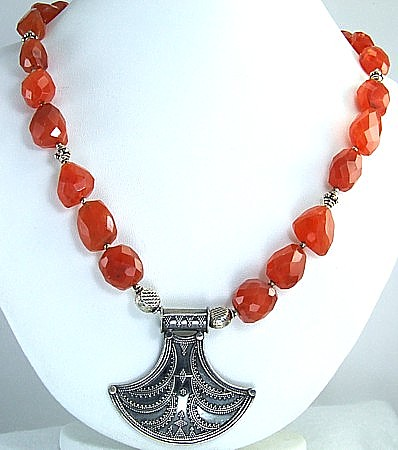 Design 1698: orange carnelian medallion necklaces