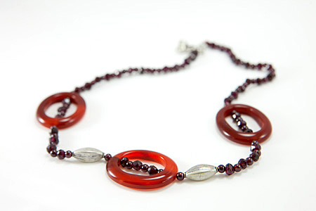 Design 17275: orange carnelian necklaces