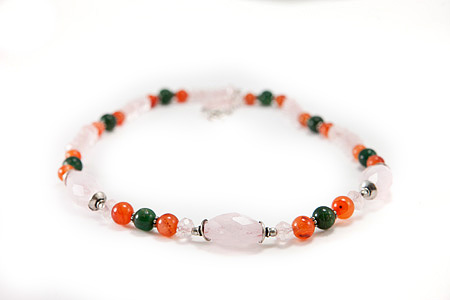 Design 17313: multi-color rose quartz necklaces