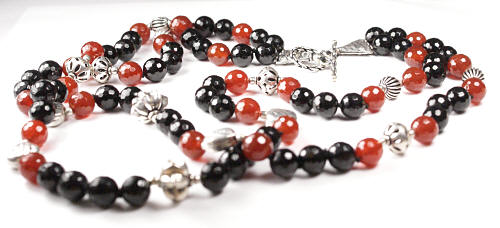 Design 17363: black,orange black spinel necklaces