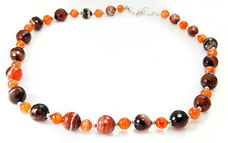 Design 17696: black banded onyx necklaces