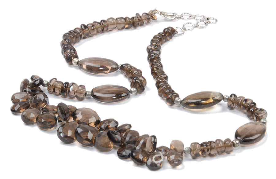 Design 18169: brown smoky quartz necklaces