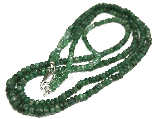 Design 1849: green emerald multistrand necklaces